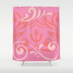 Island Wave Pink Shower Curtain by Drape Studio - $68.00- see all products with this vintage mod design in our shops www.cafepress.com/drapestudio and www.society6.com/drapestudio and www.zazzle.com/drapestudio and www.etsy.com/shop/drapestudio OR visit our main site www.drapestudio.com