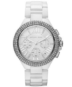 Michael Kors Watch, Women's Chronograph Camille White Ceramic Bracelet 43mm MK5843