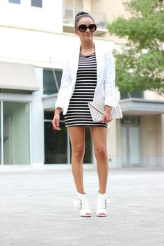 OUTFIT DETAILS Black and white stripped dress: Forever 21 (Similar) White Blazer: Piazza Sempione (Similar) Open toe booties: c/o Shoedazzle Clutch: (Similar)