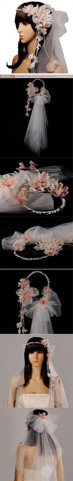 Wedding Veil with Artificial Flower Headband Bride Flower Garland Headpiece