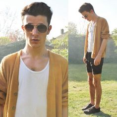 E Bay Camel Cardigan, Topman White Tee, Altered/Charity Shop Black Shorts, Topman Black Trainers