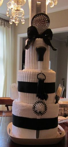 Kitchen Towel Cake, bridal shower gift. I am so doing this for you, except the base may be a deep fryer...