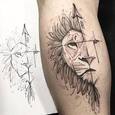 Tattoo Geometric Lion Wolves 16 Ideas For 2019 Wolf Tattoos, Elephant Tattoos, Animal Tattoos, Neue Tattoos, Body Art Tattoos, Sleeve Tattoos, Tattoo Ink, Lion Tattoo Design, Tattoo Designs