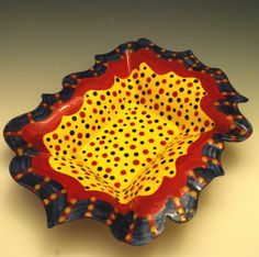 Red Yellow and Blue Serving Dish Made to Order by JudyBFreeman (Home & Living, Kitchen & Dining, Dining & Serving, Bowls, colorful, decorative, ceramic, red, yellow, blue, judybfreeman, judy freeman, serving, spotted, ceramics and pottery, dotted, primary colors)