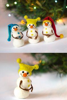 Felt Snowman, Snowman Crafts, Felt Crafts, Snowmen, Felt Christmas, All Things Christmas, Felt Ornaments, Christmas Tree Ornaments, Snowman Decorations