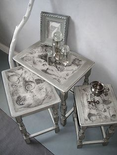 'Salvage Trio', Nest of Tables painted with Annie Sloan pastel Grays.