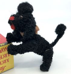 Last photo shows original ad featuring the Black Poodle Mascot. Black chenille stem tail topped with wool pom pom. Black wool pom pom on top of head. No plush thinning, no fading. Cute Puppies, Cute Dogs, Awesome Dogs, Poodle Cuts, Cutest Puppy Ever, Puppy Cut, Cute Pomeranian, Tea Cup Poodle, Plush Animals