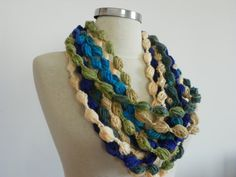 Crochet infinity pompom scarf handmade chunky by Ozlempunchneedle, $10.00