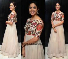 Ritu Varma in Mrunalini Rao Ritu Varma was recently snapped in a white anarkali gown with a floral embroidered yoke. Party Wear Indian Dresses, Indian Gowns Dresses, Dress Indian Style, Long Gown Dress, Frock Dress, The Dress, Long Gowns, Simple Gown Design, Long Dress Design
