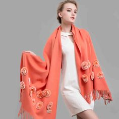 Top Fashion 2017 New Women Scarf Rex Fur Rose Wool Scarves Thermal Thicken Winter Shawl Wraps 210CM Long Female Pashmina YRYW-1