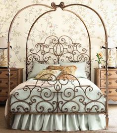 Romantic and luxuriant the Tuscany Canopy Bed brings dreams to life. Part of Horchow's Tuscany Bedroom Furniture collection, the Tuscany Canopy Bed has great curving iron arms which arch. Furniture, Beautiful Bedrooms, Iron Bed Frame, Princess Bed, Canopy Bed, House Styles, Bed, Beautiful Bedding, Wrought Iron Beds