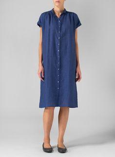 Linen Cap Sleeves Long Dress Red