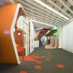 za bor architects inserts colorful additions to yandex office - designboom | architecture