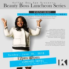 Join Lalanii Wilson-Jones, MBA the Event Host of our Inaugural Beauty Boss Luncheon Series. Lalanii is the Co-Owner of Koffee Day Spa and Kanvas. Wilson Jones, Spa Day, Skin Care, Beauty, Skincare Routine, Skins Uk, Skincare, Beauty Illustration, Asian Skincare