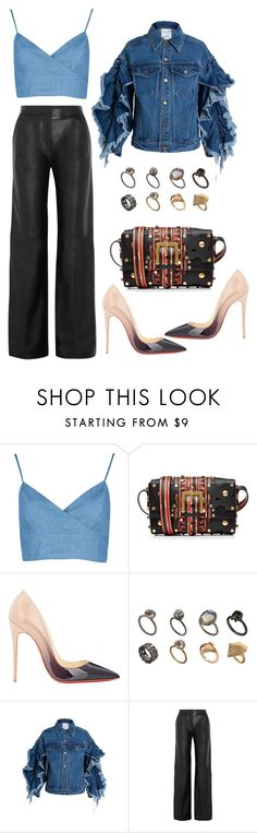 """denim days"" by astridlund on Polyvore featuring Valentino, Christian Louboutin, ASOS, Ashish and ADAM"