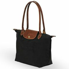 Longchamp 1948 tote Longchamp 1948 black tote with brown leather closure and handles. Very well taken care of, only used a couple of times. Longchamp Bags Totes