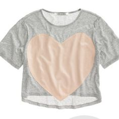Laugh Cry Repeat XS Pink Gray Silk Heart Crop Top EUC. Laugh, cry , repeat by madewell Madewell Tops Crop Tops