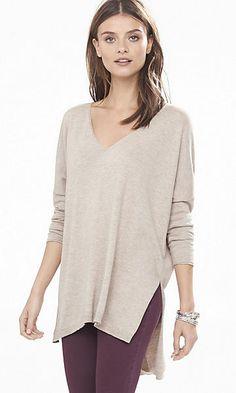 asymmetrical hem v-neck tunic sweater