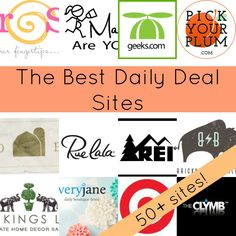 Over 50 Daily Deal Sites that will Save you Money!  Crafting, home, decor, kids.  All here!