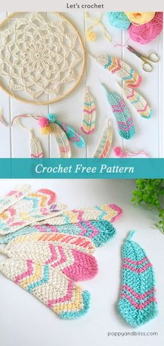 Crochet Stitches Tunisian Tunisian Crochet Feathers Free Crochet Pattern - You will discover how to crochet this beautiful Tunisian crochet feather pattern, as well as a crochet dreamcatcher to dangle your feathers from. Crochet Diy, Mandala Au Crochet, Crochet Gratis, Crochet Amigurumi, Tunisian Crochet, Crochet Flowers, Crochet Stitches, Amigurumi Toys, Crochet Ideas