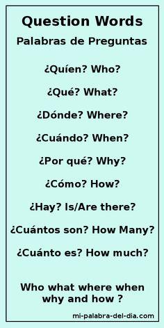 Mi Palabra Del Dia: Palabras de Preguntas Question Words Who, what, where, when , why and how? ¿Quién, Qué, Dónde, Cuándo, Por qué y Cómo? #learnspanishwords