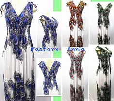 New Women Summer Peacock Print Maxi Dress Relax Beach/Evening/Entertain Sundress