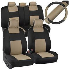 Beige  Black Car Seat Covers w Split Bench  PU Perforated Steering Wheel Cover -- For more information, visit image link. (This is an affiliate link) #LeatherCarSeatCovers
