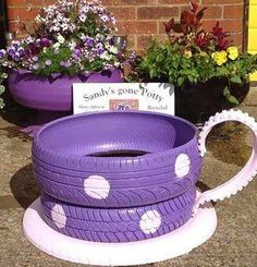 How cute is this up-cycled tire teacup? It would make a great little flower garden for your little princess or a whimsical addition to a play area.