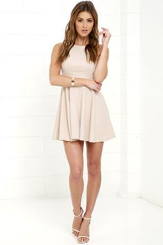 Gal About Town Beige Skater Dress at Lulus.com!