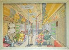 Untitled (Subway)  Folk Art Outsider Art Drawing Frank Desio 1958 Collection Dull Tool Dim Bulb / Jim Linderman