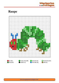 Raupe Nimmersatt Bügelperlen Vorlage - The Hungry Caterpillar perler bead pattern