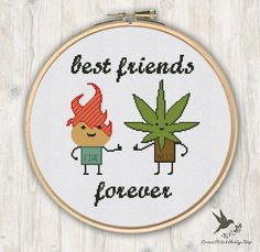 Fire Weed Best Friends Forever, funny cross stitch pattern, modern cross stitch pattern, friends cross stitch pattern, needlecraft by CrossStitchHobbyShop on Etsy