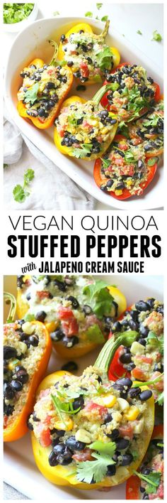 These Quinoa Stuffed Peppers with Vegan Jalapeno Cream Sauce are healthy and satisfying. Perfect meal prep lunch or dinner!   ThisSavoryVegan.com