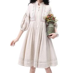 Artka Women's Fair Lady Tucker Pleats Embroidery Swing Hem Cotton Dress Color Beige LA10833C via Artka Design. Click on the image to see more!