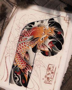 Tattoo Japanese Style, Japanese Dragon Tattoos, Traditional Japanese Tattoos, Koi Fish Drawing, Fish Drawings, Koi Dragon Tattoo, Japan Tattoo, Oriental Tattoo, Desenho Tattoo