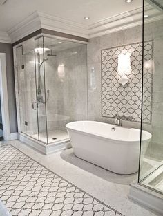 I like this set up a lot; although Jay & I don't need our own showers.  Too busy with the mosaic but I like the shower & tub.  Plus we need ceiling ideas since we have the high ceilings.