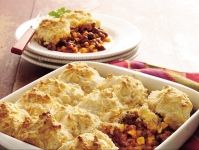 Taco Beef Bake with Cheddar Biscuit Topping, YUM!  But turkey or chicken please!