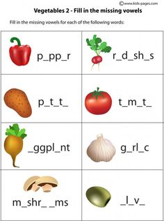 Vegetables - Fill In 2 worksheets Esl Worksheets For Beginners, Pre K Math Worksheets, First Grade Worksheets, English Resources, English Activities, Esl Lessons, English Lessons, English Food, Learn English