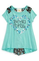 Jenna & Jessie 'Beautiful' Envelope Back Tee (Toddler Girls, Little Girls & Big Girls)
