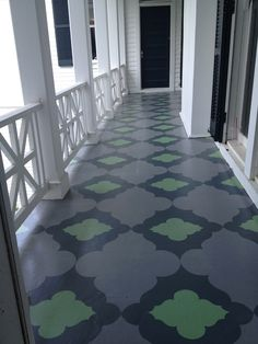 porch paint ideas If you want to remodel your house, painted porch floors are great ways. In addition to the green front yard, the porch is the first place where Flooring, Painted Porch Floors, Porch Flooring, Painted Floors, Stenciled Floor, Painted Rug, Painted Wood Floors, Painted Patio, House With Porch