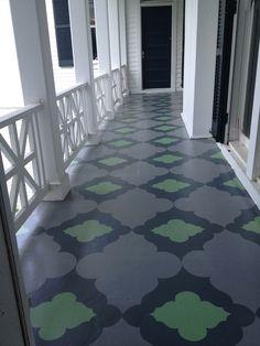 Painted Porch floor..Farrow and Ball Paint, Sunny Goode templates- 4 hour floor