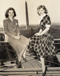 Maureen O'Hara and Lucille Ball. 1940's photo of the two entertainment legends. They starred in a feminist classic movie 'Dance, Girl, Dance' (1940)