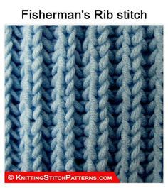 Knitting Stitch Patterns: Knit Fisherman's Rib Stitch & How to binden Types Of Knitting Stitches, Bind Off Knitting, Rib Stitch Knitting, Bamboo Knitting Needles, Knitting Paterns, Crochet Blanket Patterns, Crochet Stitches, Stitch Patterns, Knitting Videos