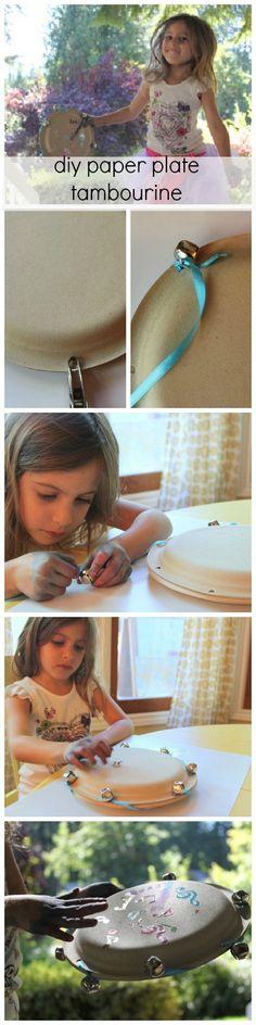 DIY homemade musical instrument - paper plate tambourine