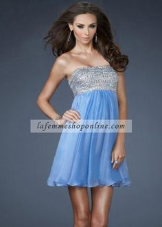 Fashion Periwinkle Short Sequin Top Flowing Homecoming Dress