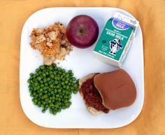 Turkey Sloppy Joe on Whole Wheat Bun, Cauliflower Gratin, Buttered Green Peas, Fresh Local Apple & Milk