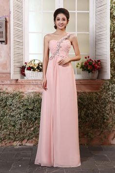 Elegant Diamond Embellished Strapless One Shoulder Sleeveless Pink Chiffon Straight Floor Length Bridesmaid Dress