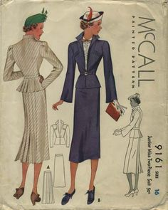 McCall 9161 |  1937 Junior Miss Two-Piece Suit after Louise Boulanger | worn with McCall 9160 Blouse