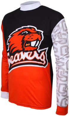 BEAVERS taunt your opponents as you hit the trails or head to the bleachers to REPRESENT WHILE YOU PLAY in this officially licensed garment from Adrenaline Prom Mountain Bike Jerseys, Mountain Biking, Motorcycle Jacket, Oregon, Sweatshirts, Sports, How To Wear, Jackets, Shopping