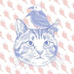 江戸時代末期にコレラ流行を予言したとされるヨゲンノトリ。「私の姿を朝夕に拝めば難を逃れることができるぞ」と語った疫病退散の象徴。 #ヨゲンノトリ #猫イラスト #猫の絵 #猫のイラスト #疫病退散 Art Reference, Illustration, Illustrations